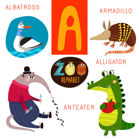 isolated animal: Cute zoo alphabet