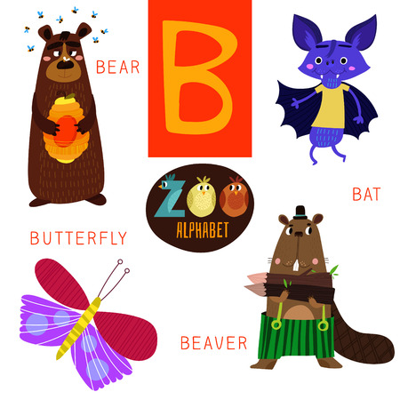 cartoon butterfly: Cute zoo alphabet B letter.