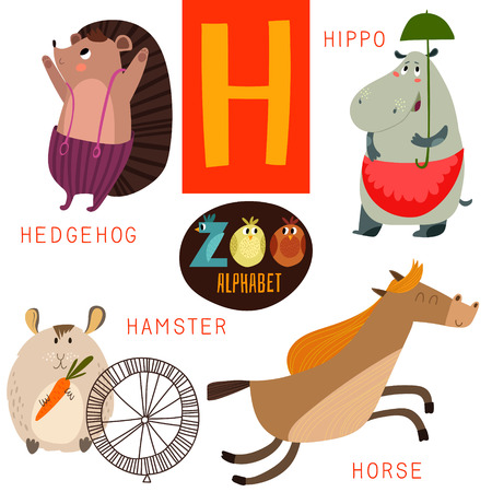 horses: Cute zoo alphabet in H letter.  Illustration