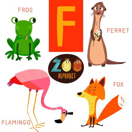 かわいい動物園 F 文字のアルファベット。  イラスト・ベクター素材