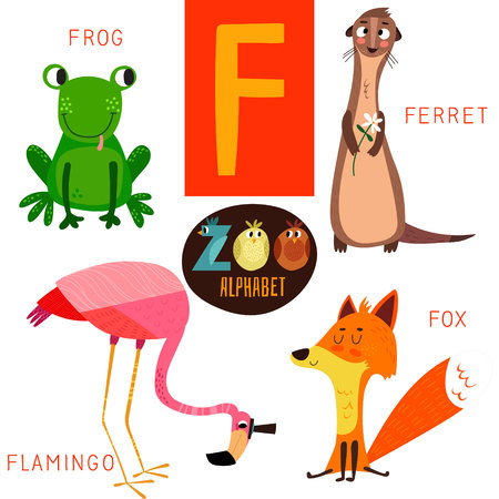 alfabeto con animales: Alfabeto zoológico lindo en F carta. Vectores