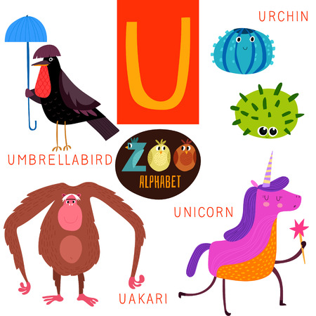 zoo animals: Cute zoo alphabet in U letter.  Illustration