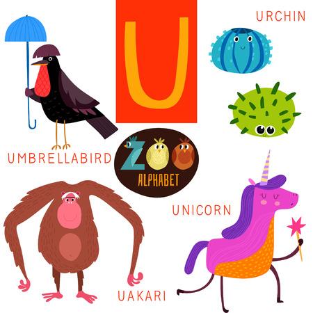 U 字形のかわいい動物園アルファベット。  イラスト・ベクター素材