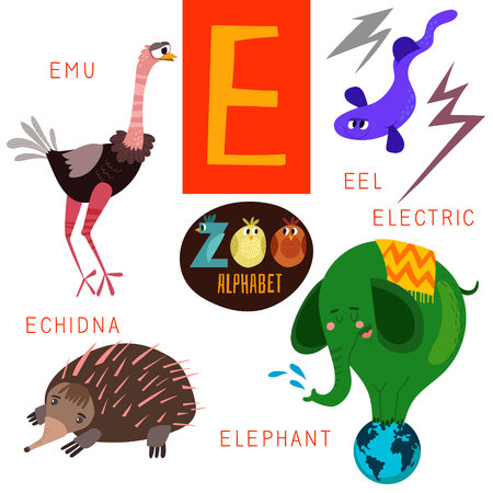 E 문자 귀여운 동물원 알파벳입니다. 일러스트