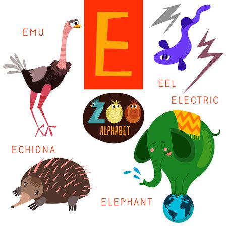 Leuke dierentuin alfabet E brief. Stock Illustratie