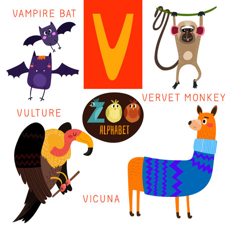 cartoon zoo: Cute zoo alphabet in V letter.  Illustration