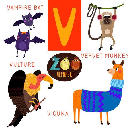 V 文字のかわいい動物園アルファベット。