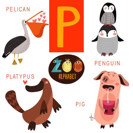 P 文字のかわいい動物園アルファベット。