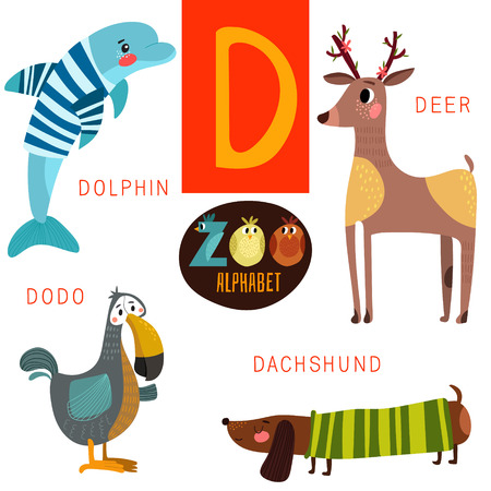 isolated animal: Cute zoo alphabet in D letter.