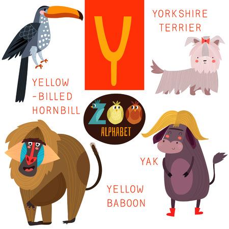 かわいい動物園アルファベット Y 文字。  イラスト・ベクター素材