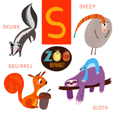 cartoon words: Cute zoo alphabet in S letter.