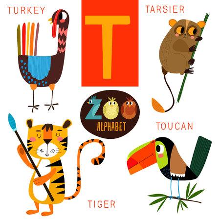 Alfabeto zoológico lindo en T carta. Vectores