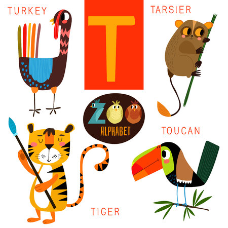 tigre caricatura: Alfabeto zoológico lindo en T carta. Vectores