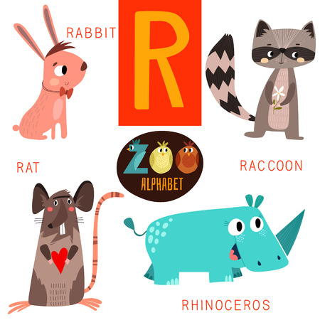 cartoon zoo: Cute zoo alphabet in R letter.