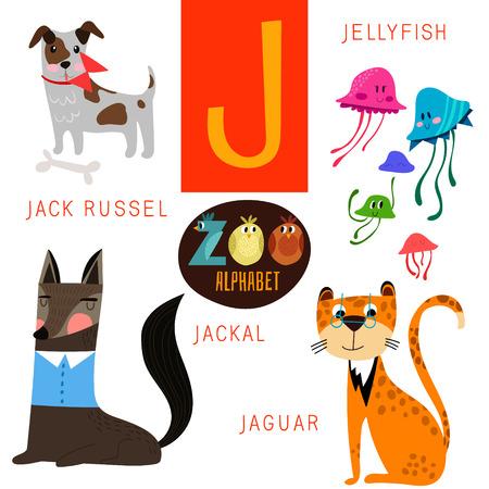 alfabeto con animales: Alfabeto zoológico lindo en J carta.