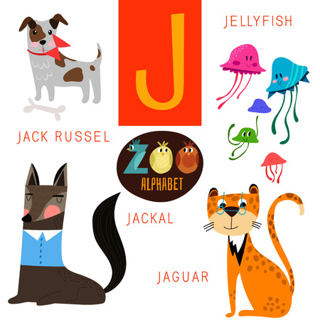 cartoon zoo: Cute zoo alphabet in J letter.