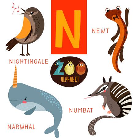 N 문자 귀여운 동물원 알파벳입니다. 일러스트