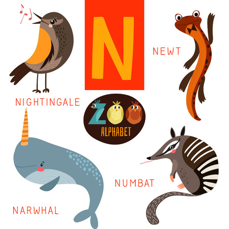 Cute zoo alphabet in N letter.