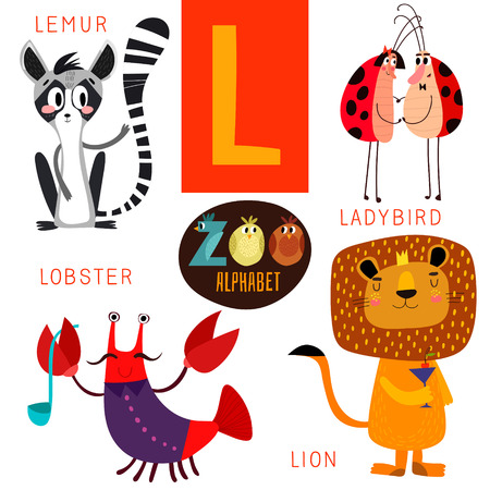 Cute zoo alphabet in L letter.  Illustration