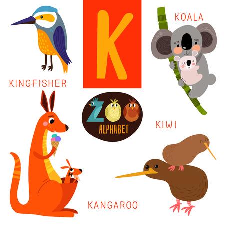 alfabeto con animales: Alfabeto zoológico lindo en K carta.