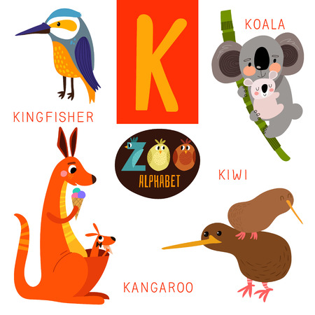 alphabets: Cute zoo alphabet in K letter.