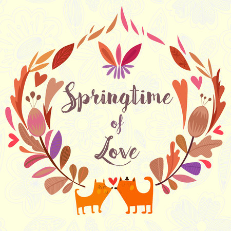springtime: Springtime of love - hand drawn illustration  with cute foxes and decorative flower elements for greeting card, invitation and web design