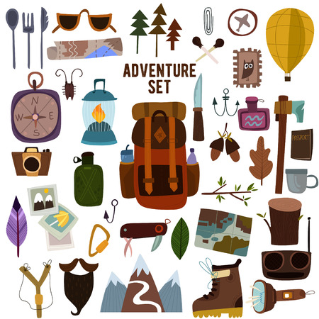 tourist information: Adventure set-Bright camping equipment. Design illustration of camping and hiking info graphic elements