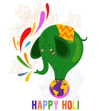 illustration with cute elephant for Indian festival Holli celebrations- concept card in a colorful style. Ilustração