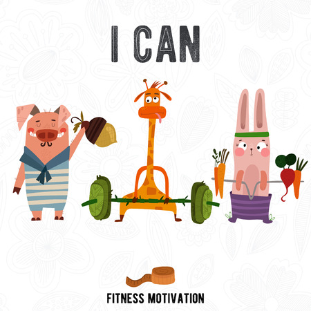 editions: Greeting card with cute pig,rabbit and giraffe. Summer is coming -Fitness motivation. Good for sport motivation posters, sport editions, fitness club, magazines and websites.