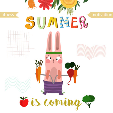 editions: Greeting card with cute rabbit. Summer is coming -Fitness motivation. Good for sport motivation posters, sport editions, fitness club, magazines and websites.