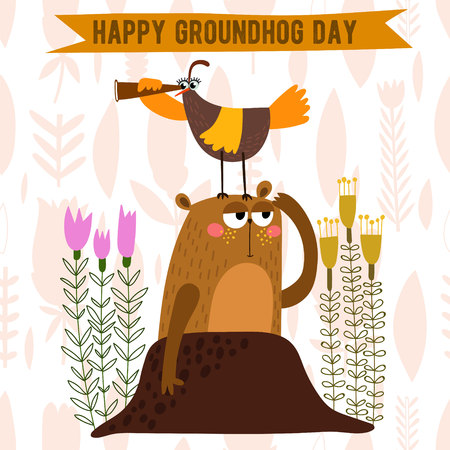 Happy Groundhog Day design with cute groundhog. Lovely card with cute groundhog for your design. 矢量图像