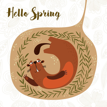 Hello Spring-Cute Groundhog Day card as funny cartoon character of marmot