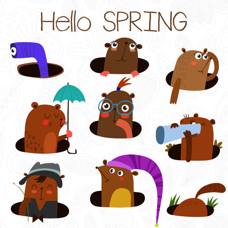 woodchuck: Happy Groundhog Day design with cute groundhog. Lovely card with cute groundhog for your design. Illustration
