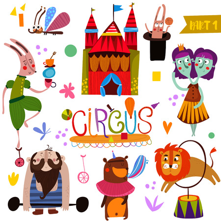 Circus performance collection  in cartoon style. Funny card with athlete animals: rabbit, butterfly, lion, bear, weightlifter and twins-magician illustration  イラスト・ベクター素材