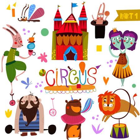 payasos caricatura: colección función de circo en el estilo de dibujos animados. tarjeta divertida con los animales atleta: conejo, mariposa, león, oso, levantador de pesas y los gemelos-mago ilustración Vectores