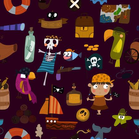 Hintergrund mit Piraten Elemente: Papagei, Schiff, Anker, Skelett und Schatz. Ehrfürchtig nahtlose Muster Vektorgrafik