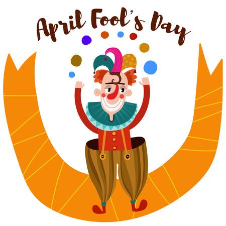 april: April Fools Day-Funny  card with cartoon clown Illustration
