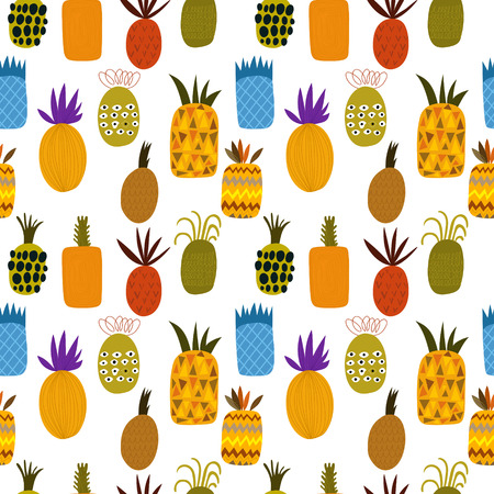 summer fruit: Summer pineapple fruit illustration background pattern. Seamless pattern can be used for wallpapers, pattern fills, web page backgrounds, surface textures