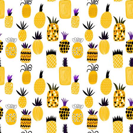 유행: 여름 파인애플 과일 그림 배경 무늬입니다. 원활한 패턴, 패턴 칠, 벽지에 대한 웹 페이지 배경, 표면 질감을 사용할 수 있습니다