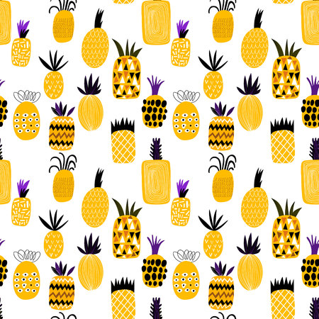 Summer pineapple fruit illustration background pattern. Seamless pattern can be used for wallpapers, pattern fills, web page backgrounds, surface textures