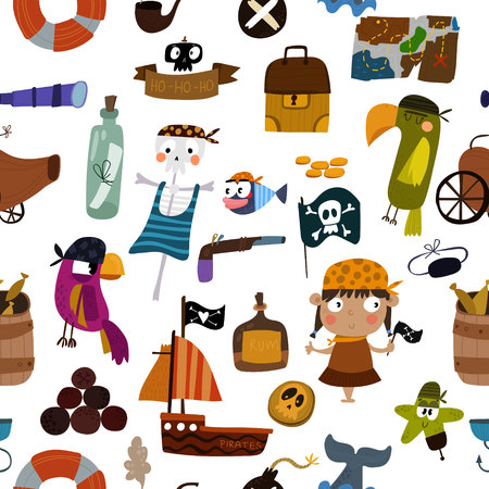 background with pirates elements: parrot, ship, anchor, skeleton and treasure. Awesome seamless pattern