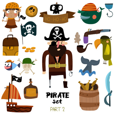set of pirate items: pirate, ship, skull, parrot, whale, fish, rum and pipe. Colorful cartoon collection