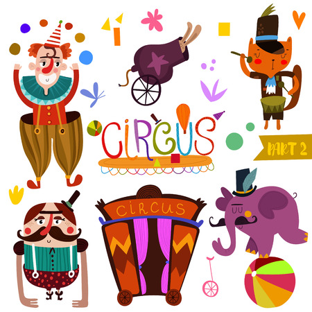 payasos caricatura: colección función de circo en el estilo de dibujos animados-part_2. tarjeta divertida con los animales atleta: payaso, conejo, gato y la ilustración de elefante mago