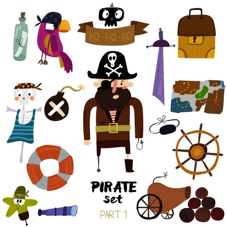 set of pirate items:  pirate,map, chest, parrot, skeleton, starand sword.Colorful cartoon collection Ilustração
