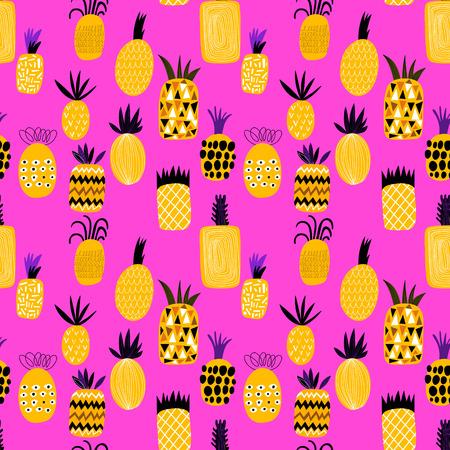 ananas été motif fruit illustration de fond. Seamless peut être utilisé pour les papiers peints, motifs de remplissage, page web milieux, textures de surface Vecteurs