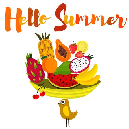 mango slice: Hello Summer-background with  slice of watermelon,dragon fruit, banana, papaya, mango, peach and other. Bright poster with lettering