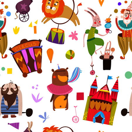 Lovely seamless pattern for children designs. Circus performance  with athlete animals: clown,rabbit, butterfly, lion, bear and weightlifter- magician background
