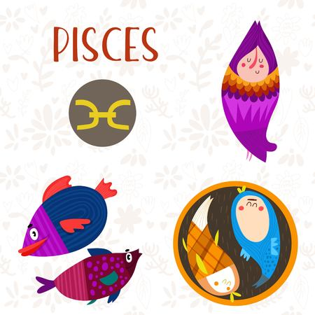 conjunction: Cute Zodiac sign-Pisces-different  illustrations  in cartoon style. Lovely design for adults and kids. - stock vector