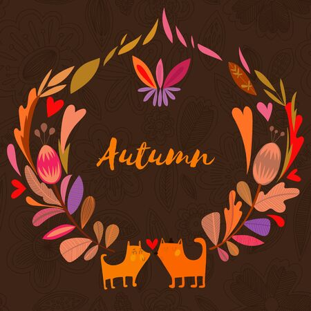 vintage colors: Nice background in autumn colors with vintage fox. Vector frame with place for text. Valentines day card
