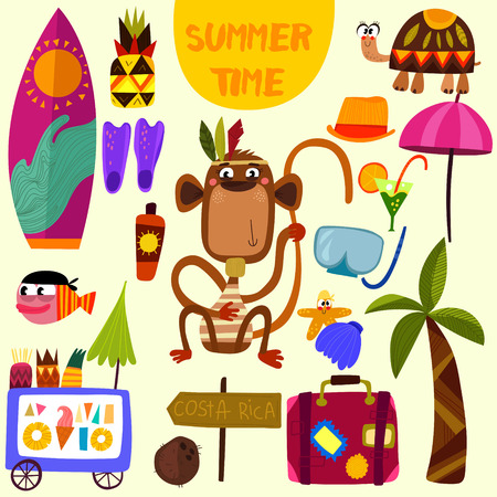 summertime: Hand drawn Summer beach set for summer vacation.Tourism,journey objects and passenger luggage-stock vector Illustration